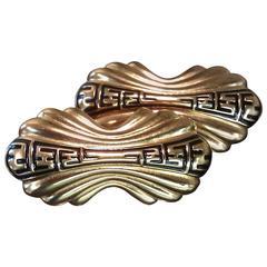 1980s FENDI Goldtone and Enamel Clip Earrings