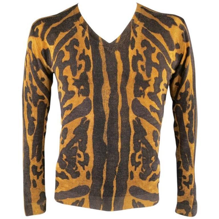 ALEXANDER MCQUEEN Men's Size S Brown Leopard Cheetah Animal Print Wool Pullover