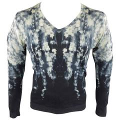 ALEXANDER MCQUEEN Size S Navy & Cream Kaleidoscope Print Wool Pullover