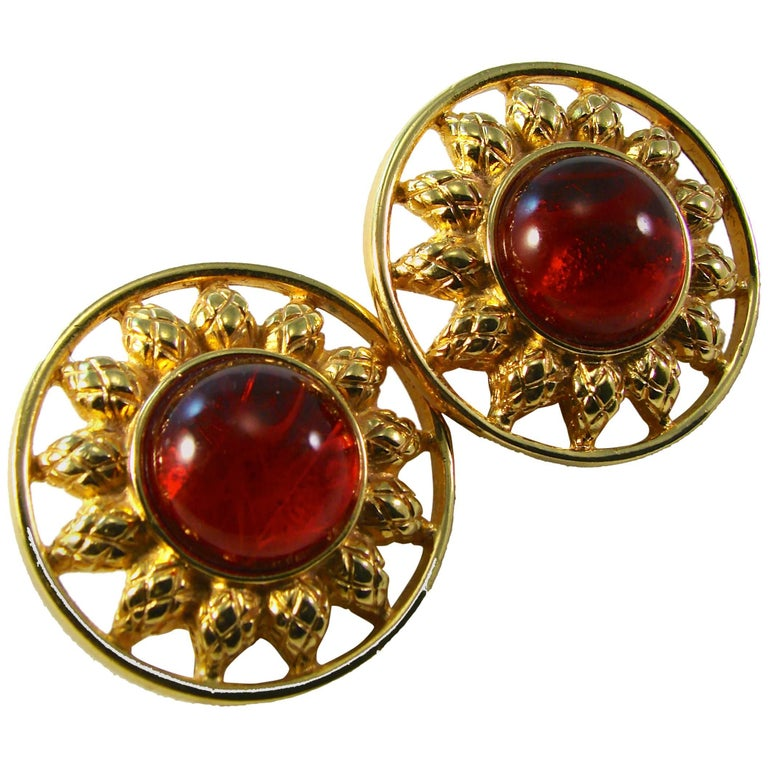 """Fendi Earrings Red Glass Cabochon """"Sun"""" Vintage 1980s  For Sale"""