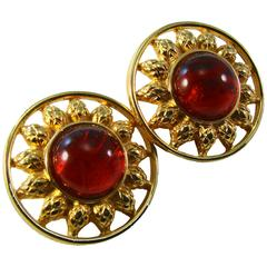 Fendi Brilliant Gold Sun Earrings with Red Glass Cabochon Center Vintage 1980s