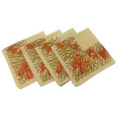 Emilio Pucci 1970s Cream and Orange Butterfly Print Cloth Napkins Set of Four