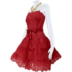 Vintage Vicky Tiel Couture Red Lace Strapless Party Dress