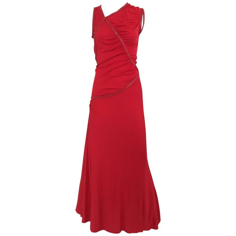 Sexy 2003 Alexander McQueen red jersey dress with leather trim