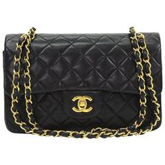 Chanel Black Quilted Lambskin Small Classic Double Flap Bag