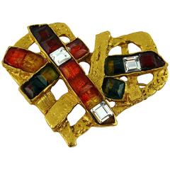 Christian Lacroix Vintage Rainbow Heart Brooch