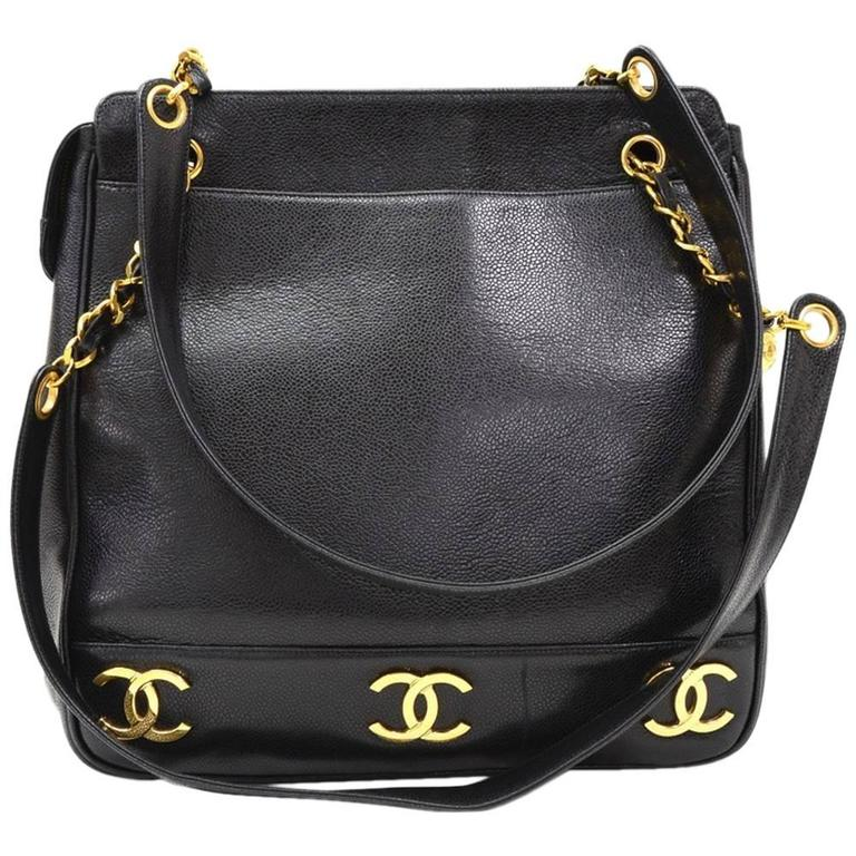 12d2b6a589db Chanel Black Caviar Leather Vintage Timeless Shoulder Bag at 1stdibs