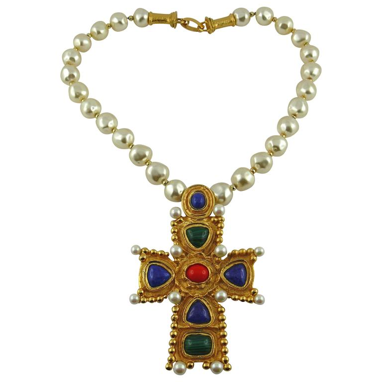 Christian lacroix vintage byzantine cross pendant pearl necklace at christian lacroix vintage byzantine cross pendant pearl necklace for sale mozeypictures Image collections