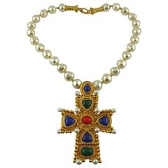 Christian Lacroix Vintage Byzantine Cross Pendant Pearl Necklace