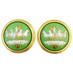 Hermes Enamel Clip On Earrings