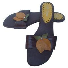 Whimsical Italian Leather Applique Lemon Sandals US Size 9