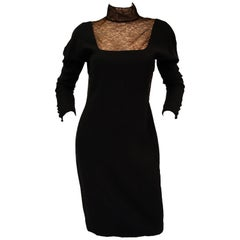 1980's Carolyne Roehm Black Wool Dress with Fine Lace Detail