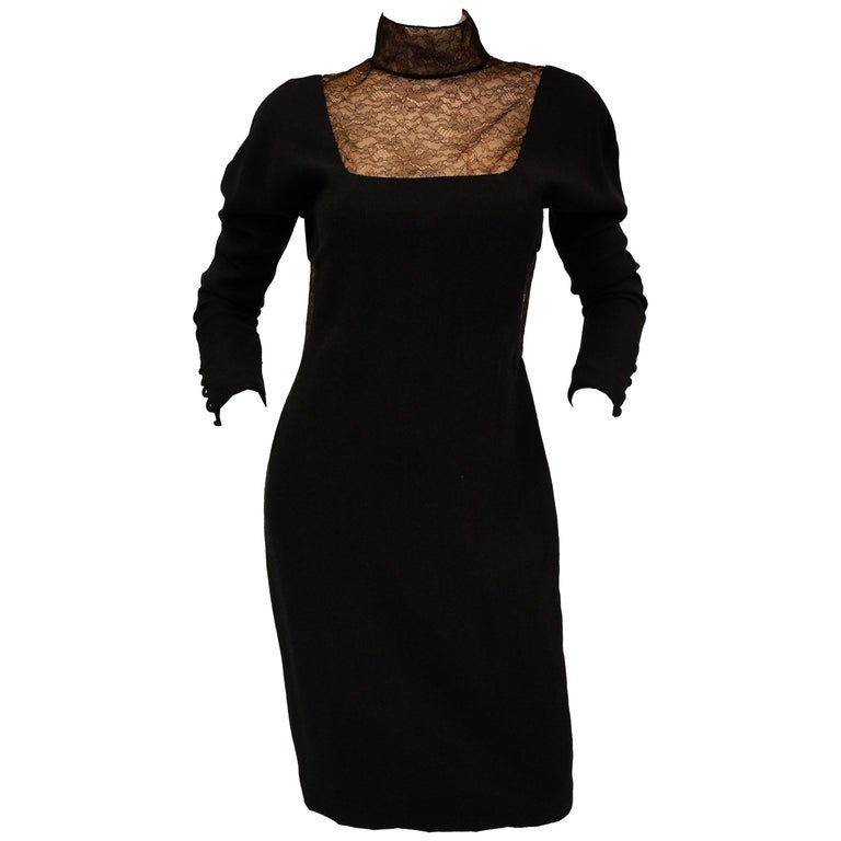 1980's Carolyne Roehm Black Wool Dress with Fine Lace Detail For Sale