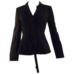 Moschino Cheap and Chic Black Jacket with Leaf and Flower Applique 44 (Itl)