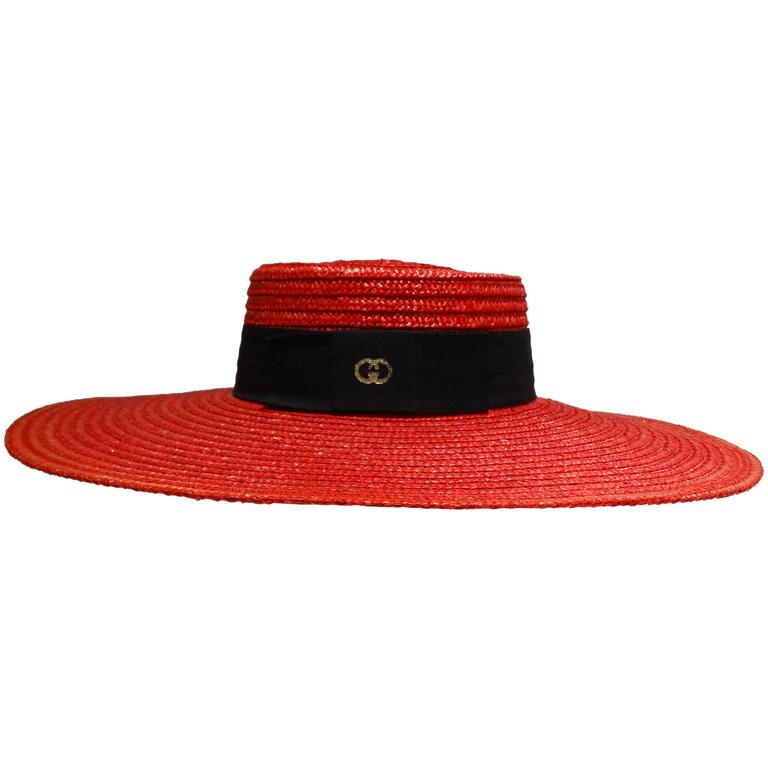 "1980s Limited Edition Red ""Gucci"" Straw Hat"