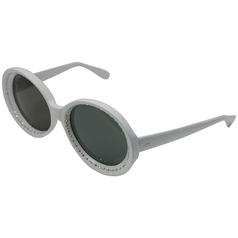 Fantastic 1960s Italian White Mod Rhinestone Sunglasses