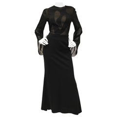 1990s Kathryn Dianos Black Crepe Evening Dress