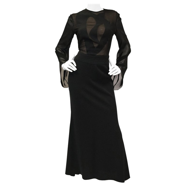 1990s Kathryn Dianos Black Crepe Evening Dress For Sale