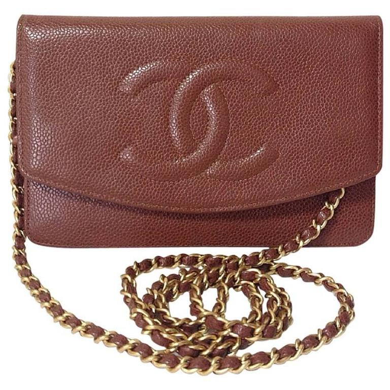 MINT. Vintage CHANEL brown caviar shoulder clutch chain bag, iPhone, wallet.