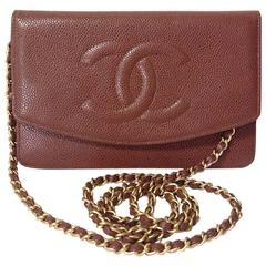 MINT. Vintage CHANEL brown caviar shoulder clutch chain bag, iPhone, wallet.