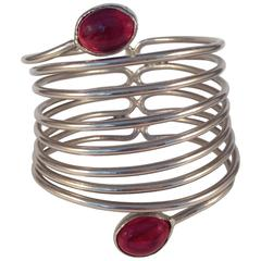 1970s Yves Saint Laurent Gripoix Silver Tone Spiral Cuff Bracelet