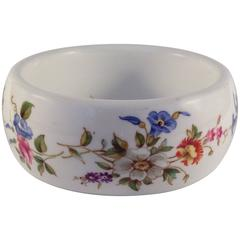1976 Kenneth Jay Lane Floral Bone China Bracelet for Royal Worcester