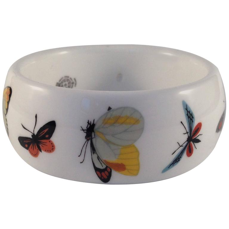 Kenneth Jay Lane 1976 Butterfly Bone China Bracelet for Royal Worchester For Sale
