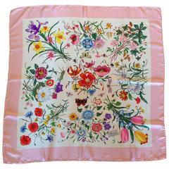 1980s Gucci Silk Floral Scarf with Pink Border