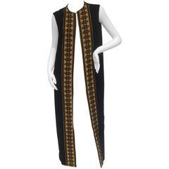 Dramatic Long Sweeping Black Silk Velvet Maxi Duster Vest c 1970s