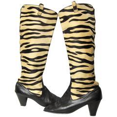 Vintage 1960's Zebra Print Go Go Boots