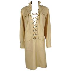 Yves Saint Laurent Variation YSL Vintage Safari Tunic Dress 1990s