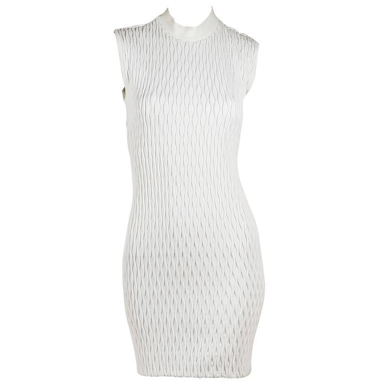 White Balenciaga Sleeveless Textured Dress For Sale