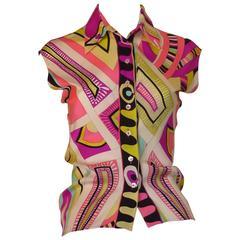 Vibrant Emilio Pucci Silk Blouse (42 Itl)