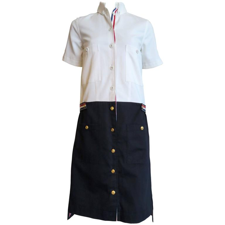 Thom browne pique oxford shirt dress at 1stdibs for Oxford vs dress shirt