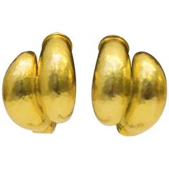 1980's Vintage Lalounis Gold Hoop Earrings