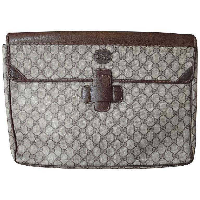 Vintage Gucci monogram large portfolio purse, document case with brown leather