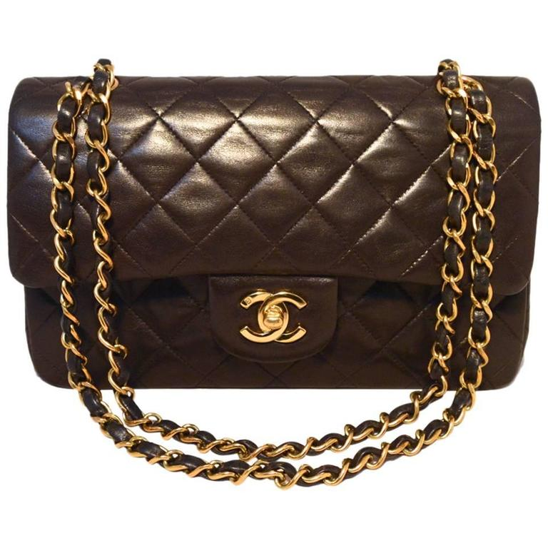 "Chanel Black Brown Quilted Leather 9"" Double Flap Classic 2.55 For Sale"