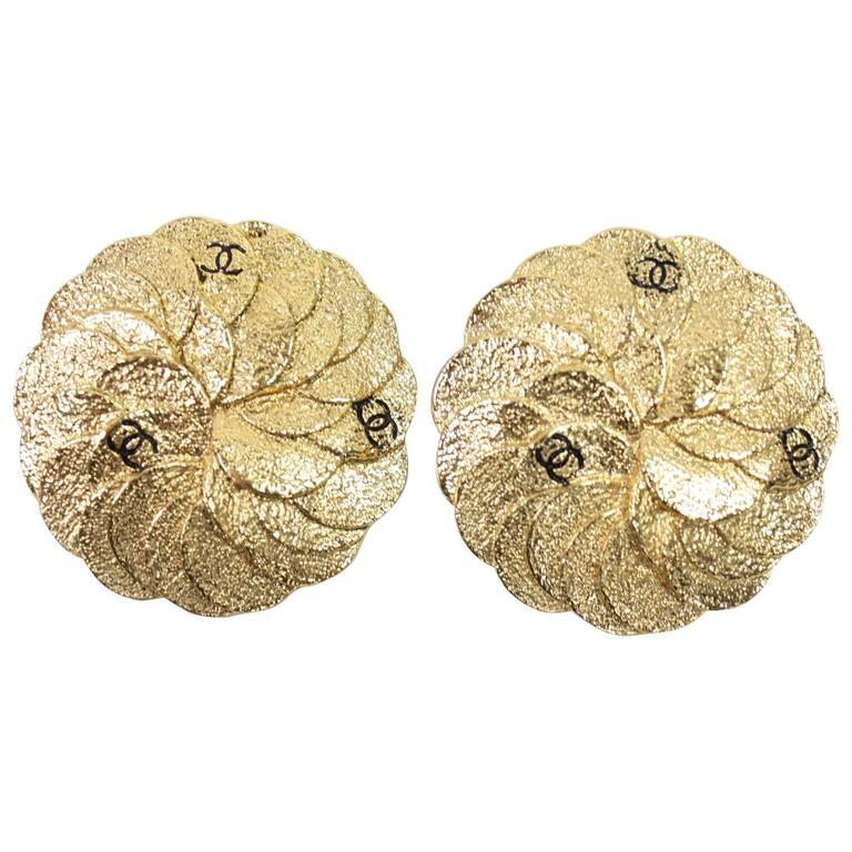 Chanel Gold-Toned Camellia Earrings 1