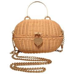 Chanel Tan Wicker Rattan Basket Shoulder Bag