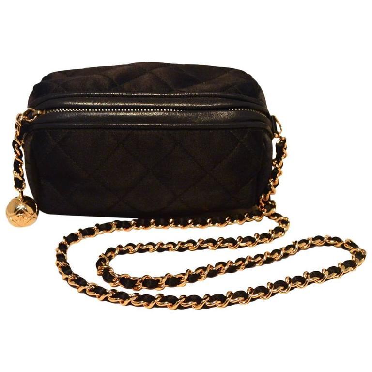 Chanel Vintage Black Quilted Satin Shoulder Bag