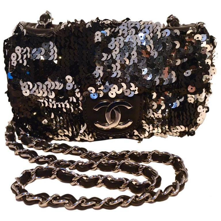 Chanel Black and Silver Sequin Mini Classic Flap Shoulder Bag For Sale