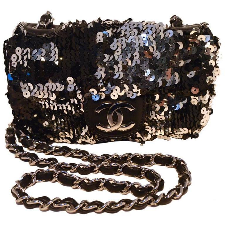 Chanel Black and Silver Sequin Mini Classic Flap Shoulder Bag 1