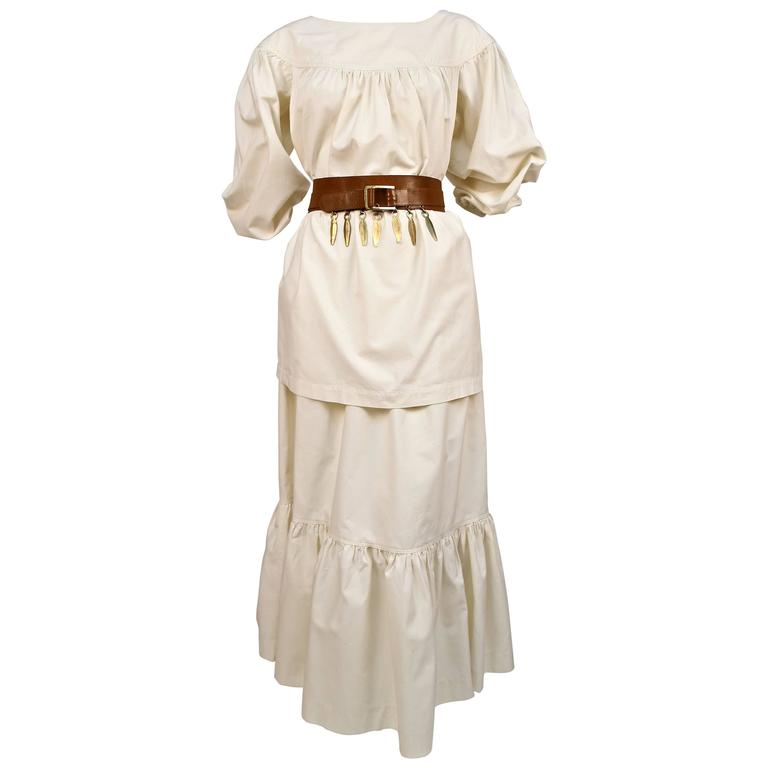 1970's YVES SAINT LAURENT cream cotton muslin peasant top and skirt For Sale