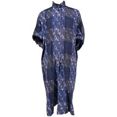 1980's ISSEY MIYAKE blue Ikat woven dress with wood buttons