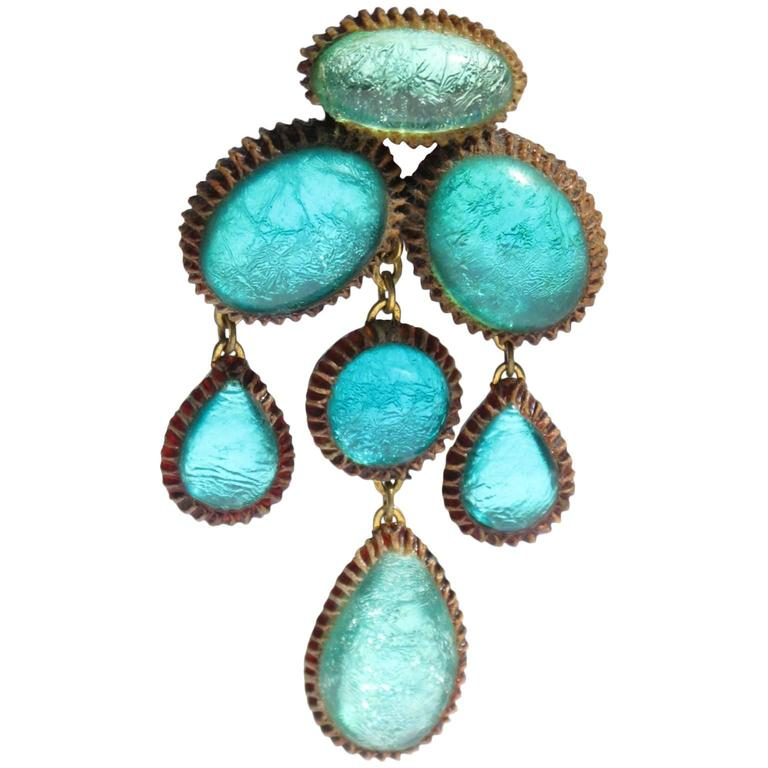 Turquoise Blue Talosel Pin Brooch executed by the workshop of Line Vautrin 1