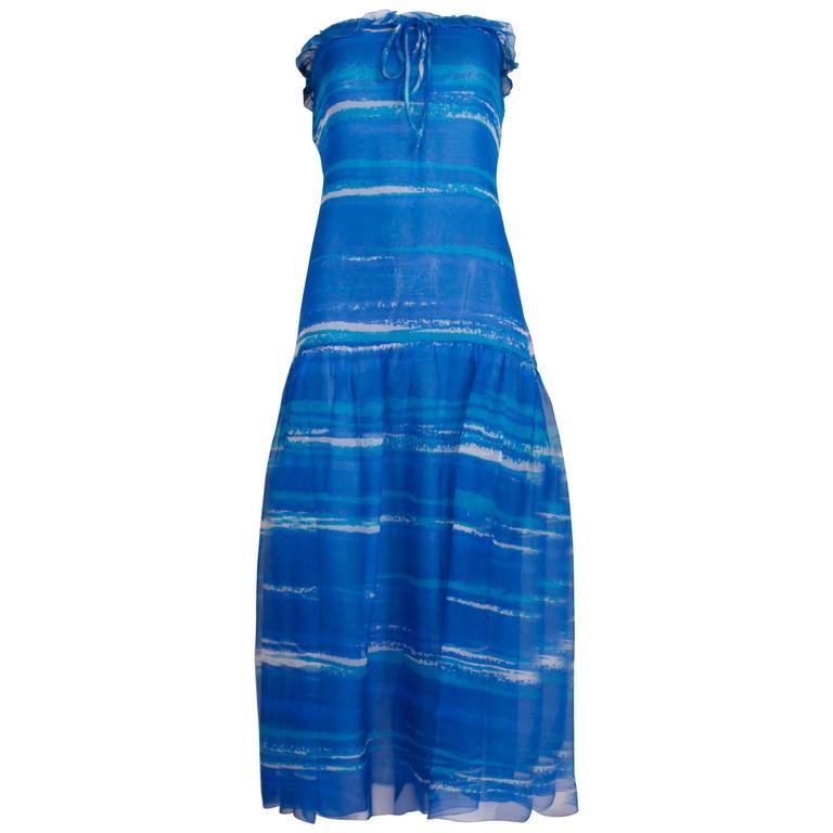50ff1a48b4 1977 Christian Dior Haute Couture Chiffon Watercolor Print Dress   Cape  No.0888 For Sale