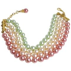 Escada Multi Strand Faux Coloured Pearl Choker Necklace