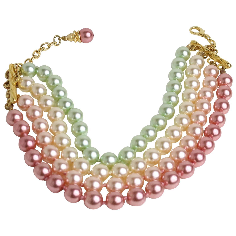 Escada Multi Strand Pearl Choker Necklace For Sale at 1stdibs