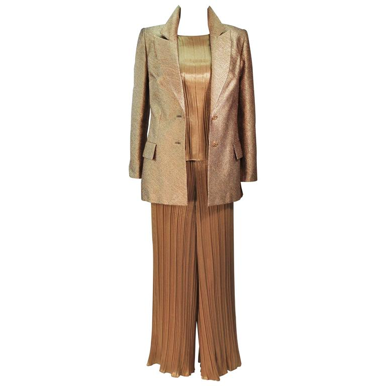 TRAVILLA Gold Metallic Silk Lame Pant Suit Ensemble Size 6