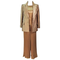 TRAVILLA Gold Metallic Silk Lame Pant Suit Ensemble Size 6